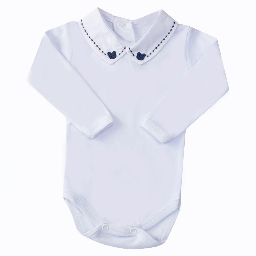 Body bebê ursinho e bolinha - Branco e azul marinho