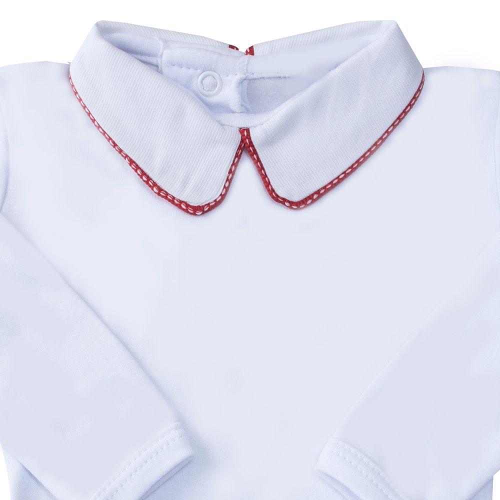 Body bebê vivo e tracinho - Branco e vermelho