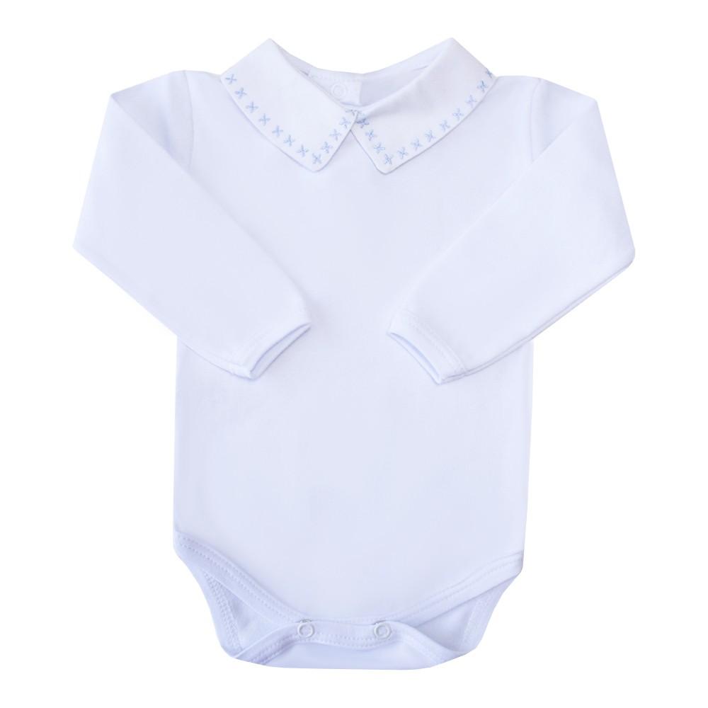 Body bebê X - Branco e azul bebê