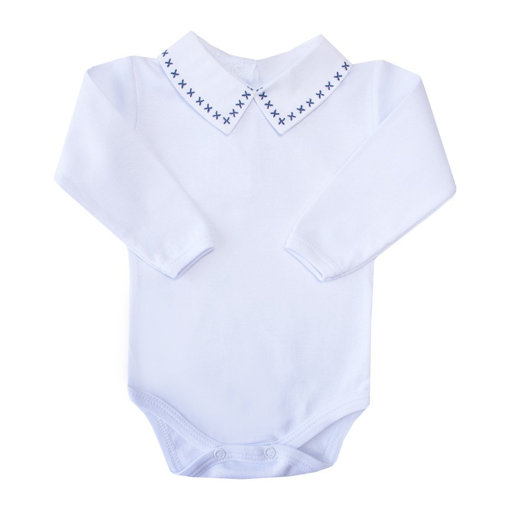 Body bebê X - Branco e azul marinho