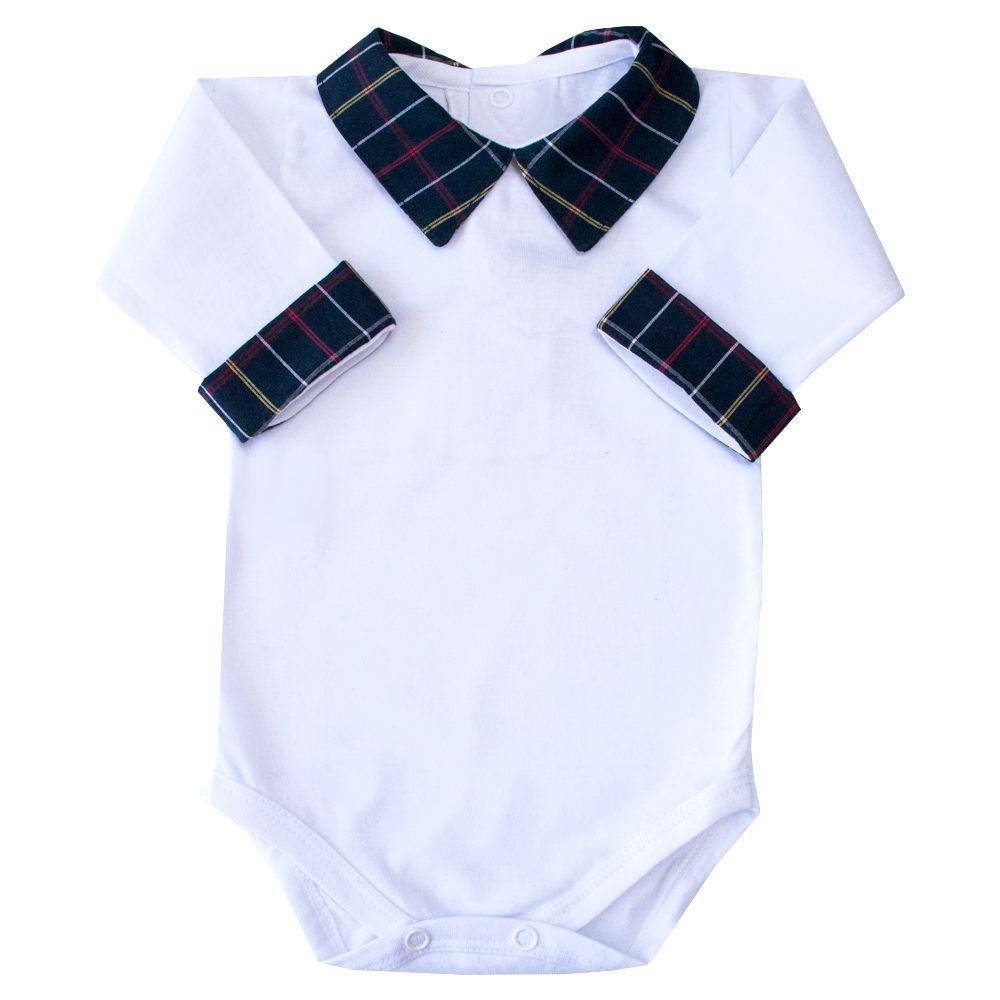 Body bebê xadrez - Branco e azul marinho