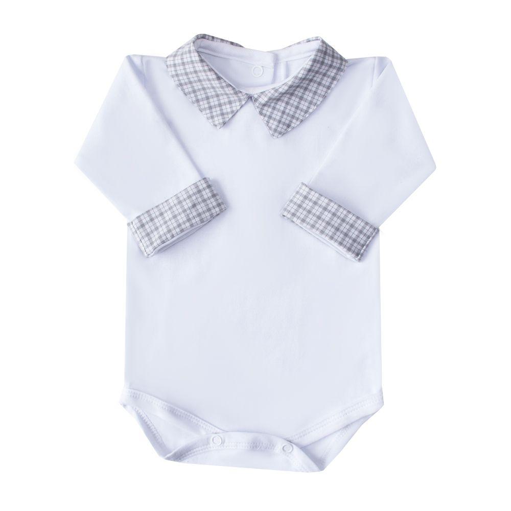 Body bebê xadrez - Branco e cinza