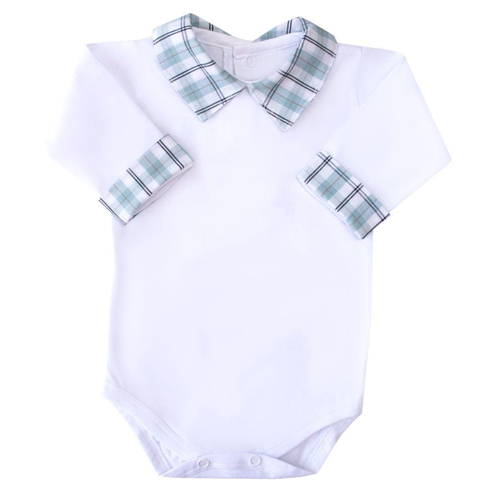 Body bebê xadrez - Branco e verde