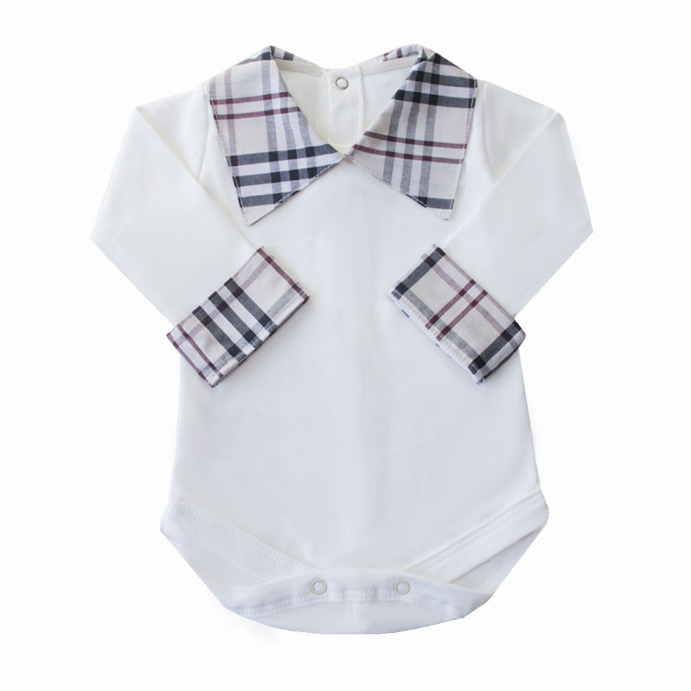 Body bebê xadrez - Off white