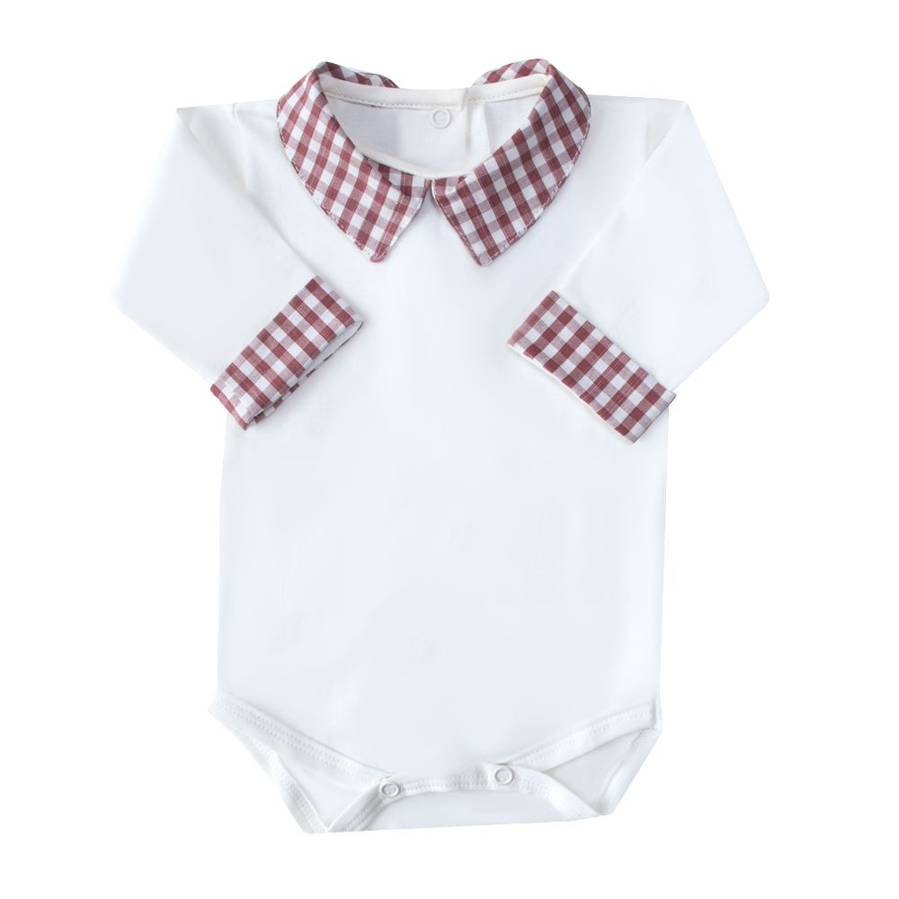 Body bebê xadrez - Off white e vermelho