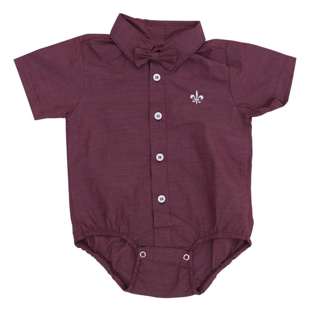 Body camisa bebê manga curta com gravata removível - Marsala