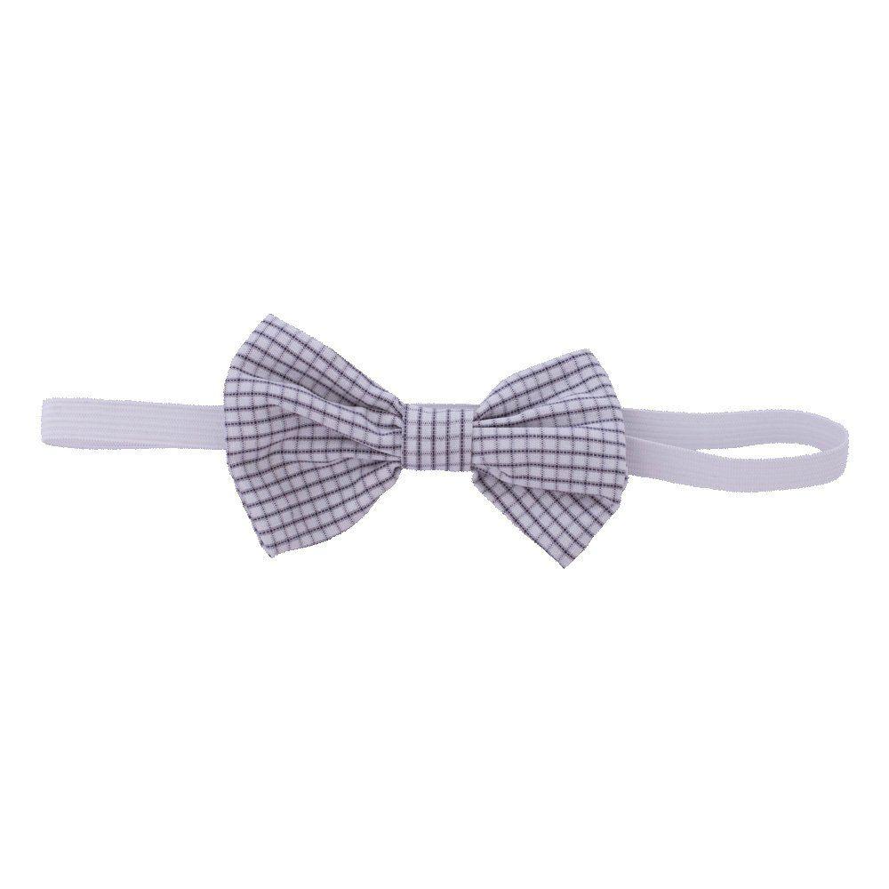 Body camisa bebê manga curta xadrez com gravata removível - Branco/Preto