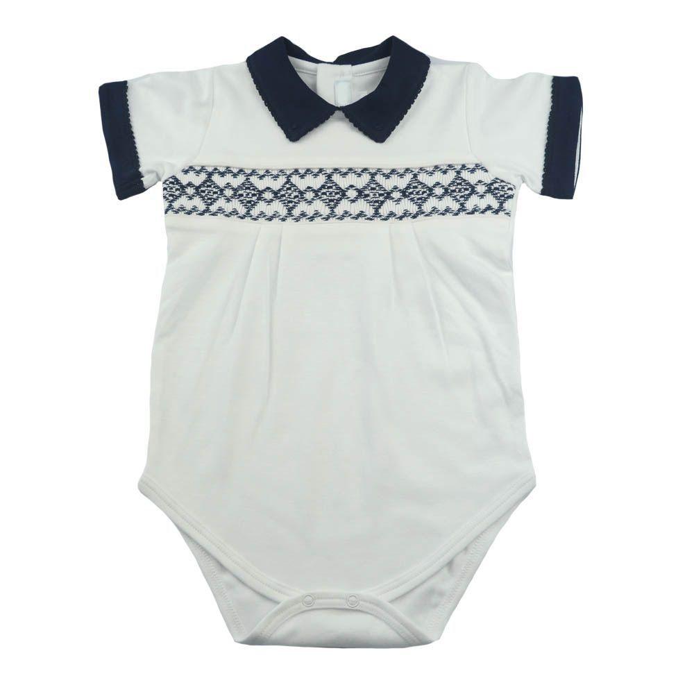 Body bebê manga curta gola polo - Branco e azul marinho