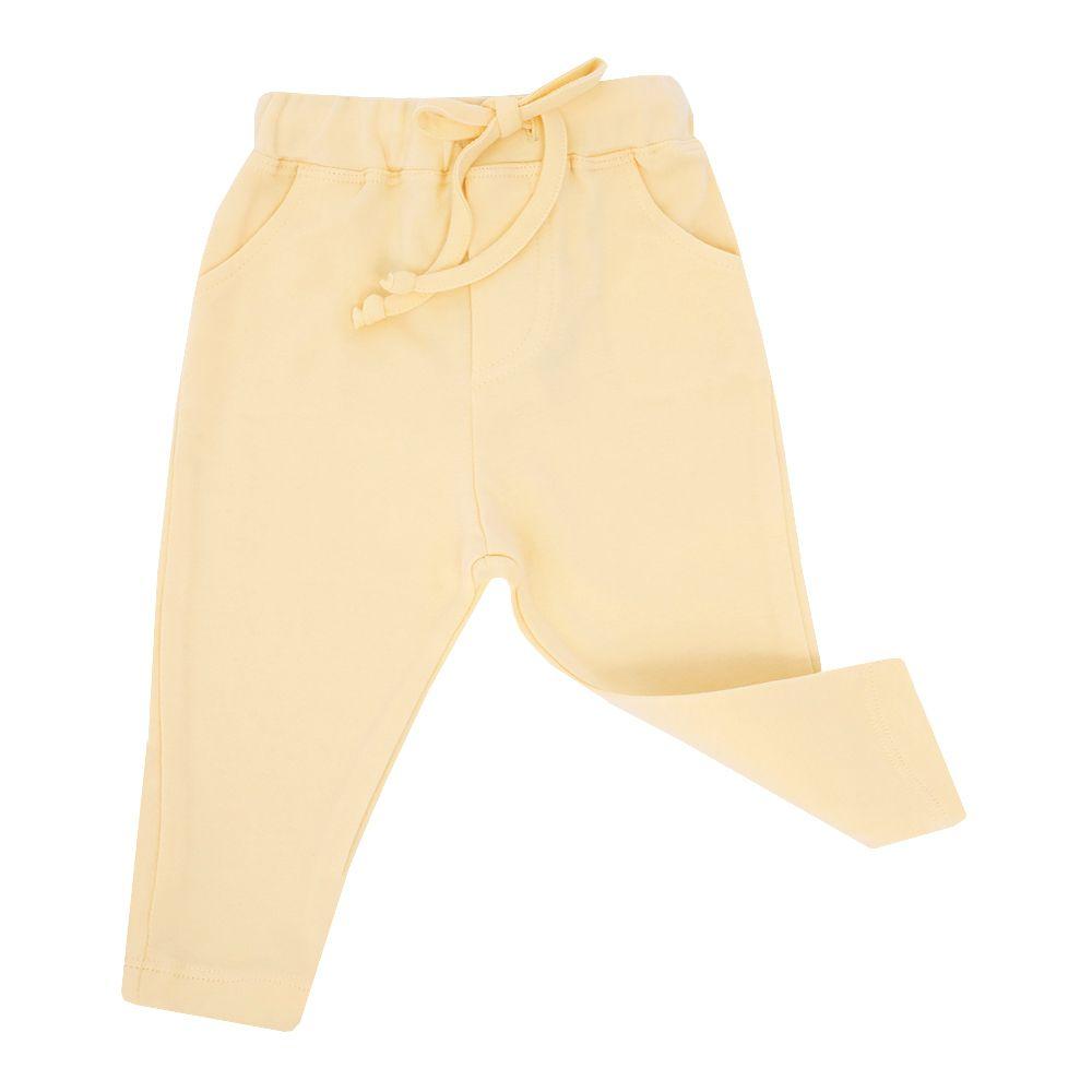 Calça bebê em malha com amarração - Amarelo
