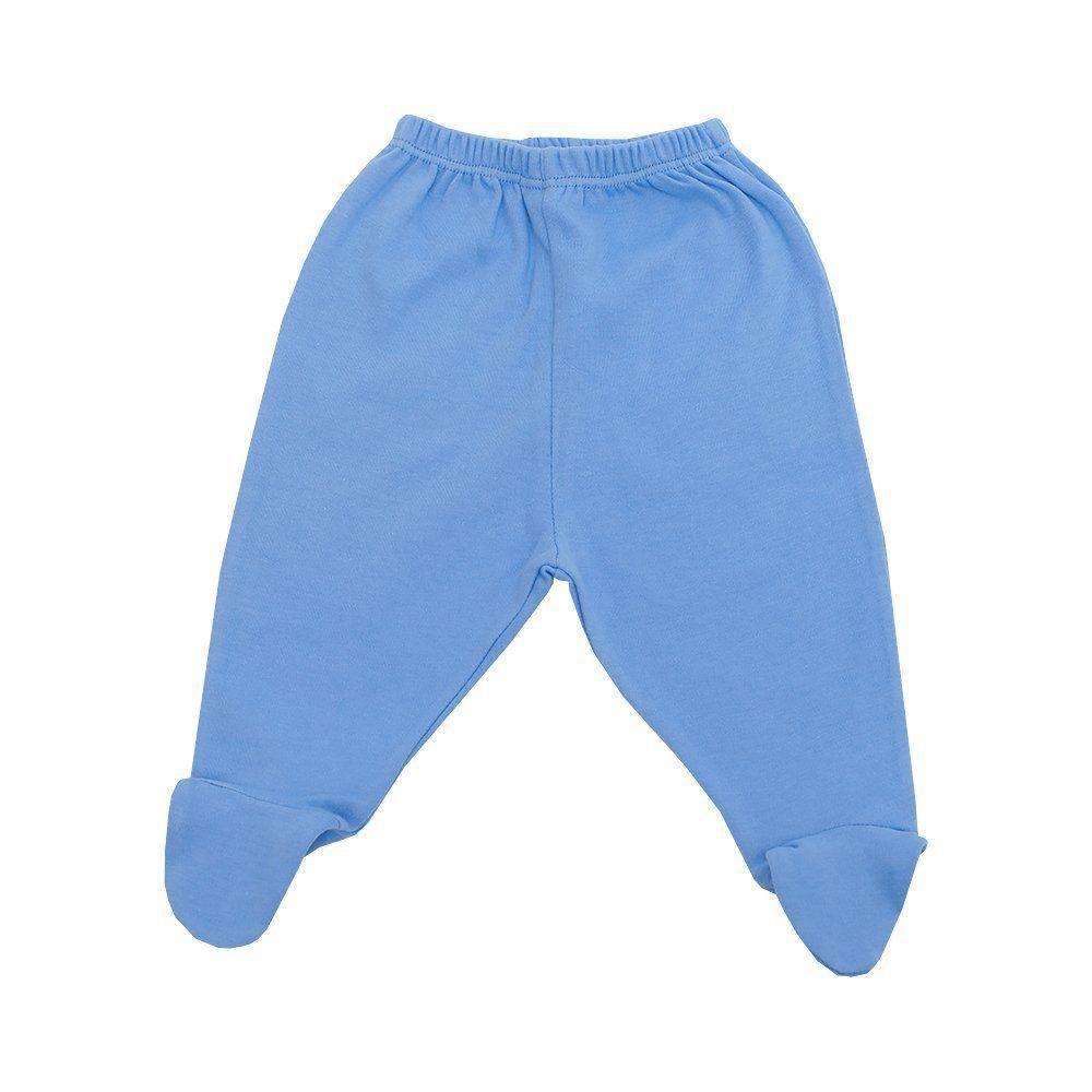 Calça bebê em malha com pé - Azul bebê