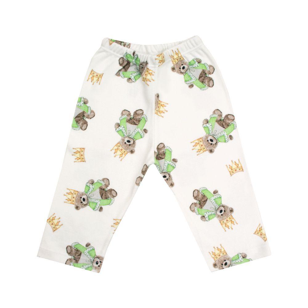 Calça bebê sem pé ursinho - Branco e verde