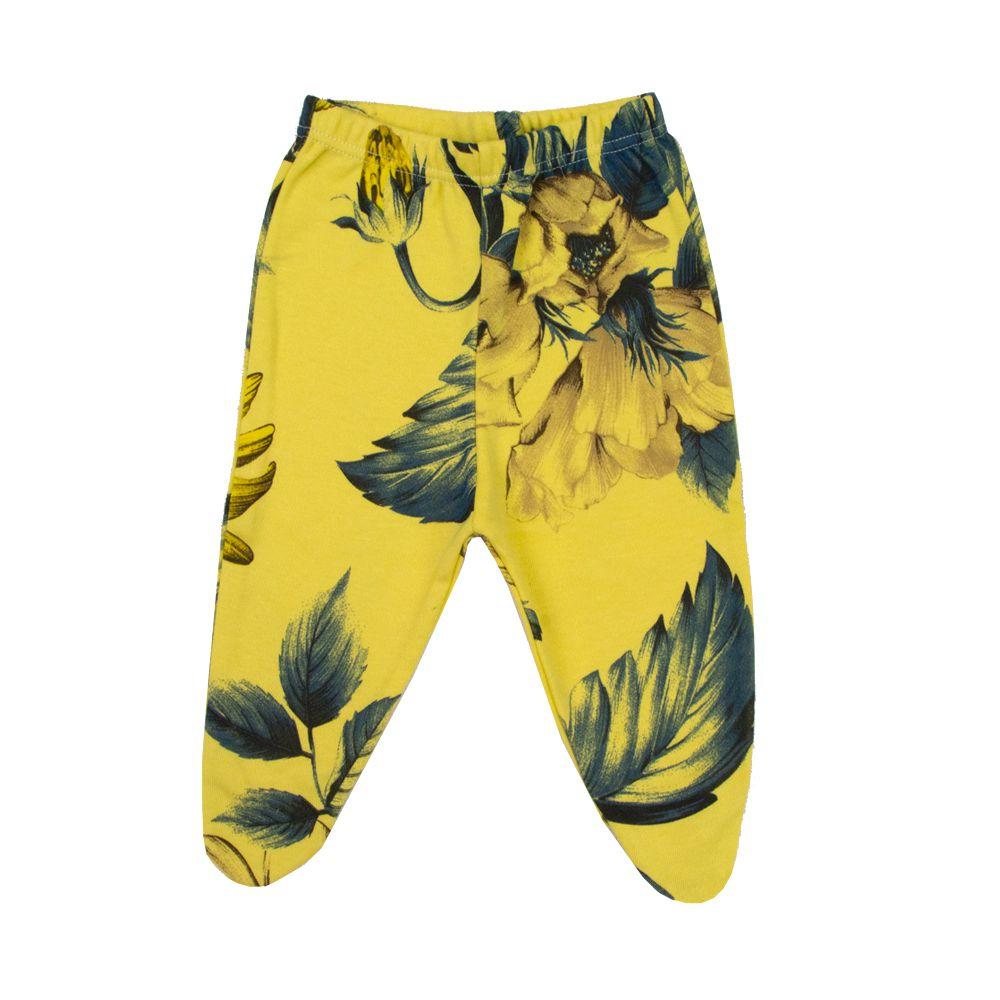 Calça com pé floral - Amarelo