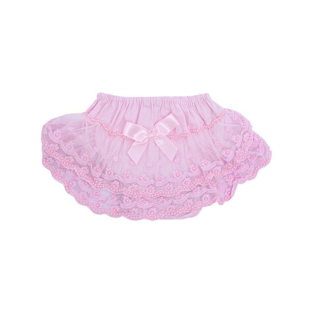 Calcinha bumbum rico rendada e bordada - Rosa