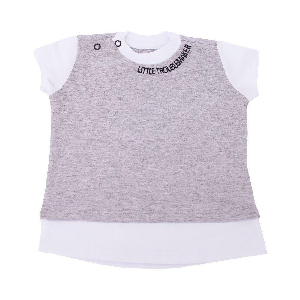 Camiseta bebê - Cinza e branco