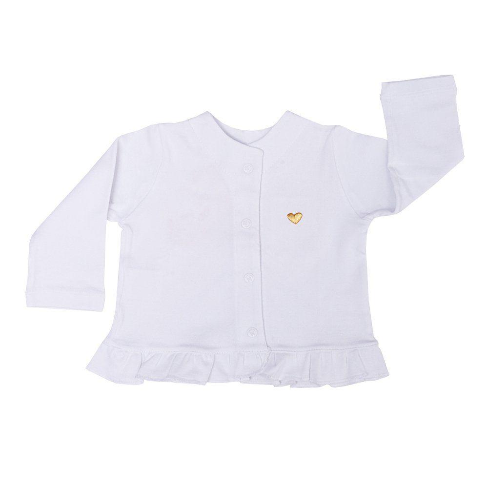 Casaco bebê com babado - Branco
