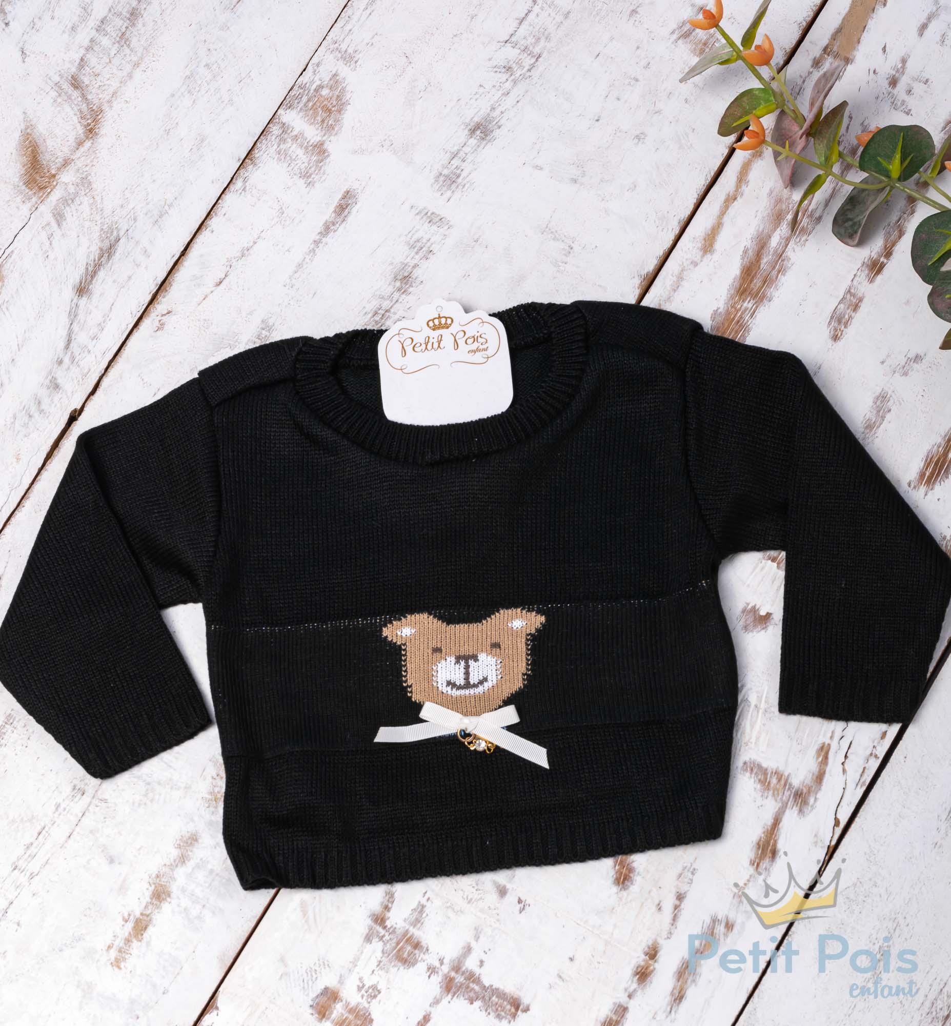 Casaco bebê linha urso feminino - Preto