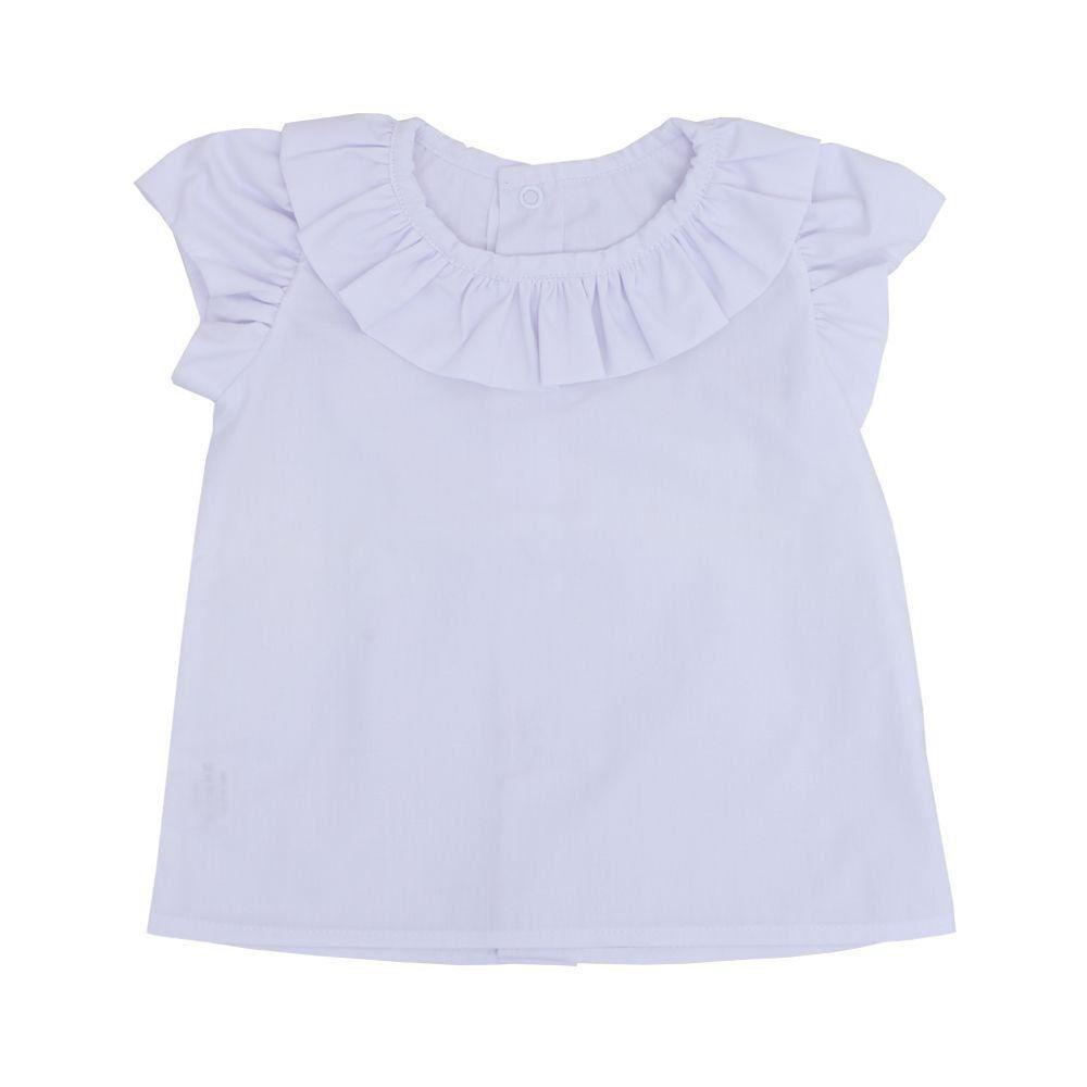 Conjunto bebê 2 peças feminino - Branco e jeans