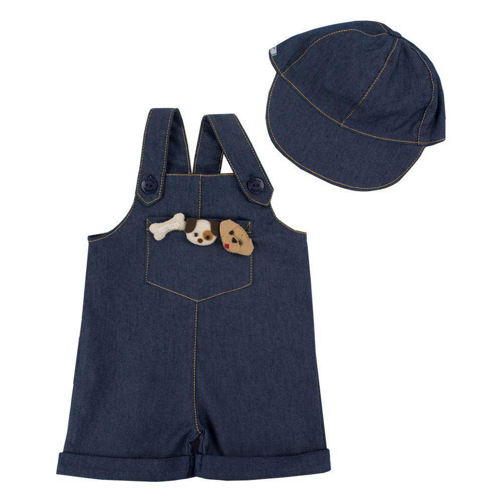 0c0bc5a073495 Jardineira bebê com boné - Jeans Venha conhecer nossa produtos e ...