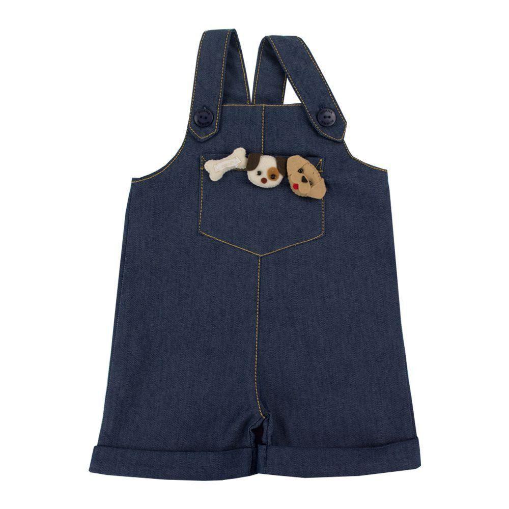 Jardineira bebê com boné - Jeans