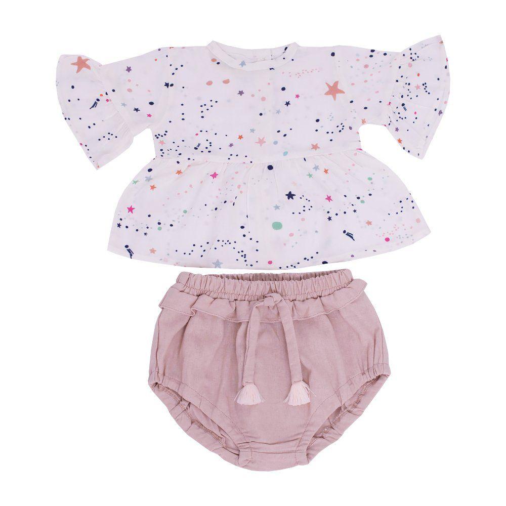 Conjunto bebê 2 peças - Off white e rosê