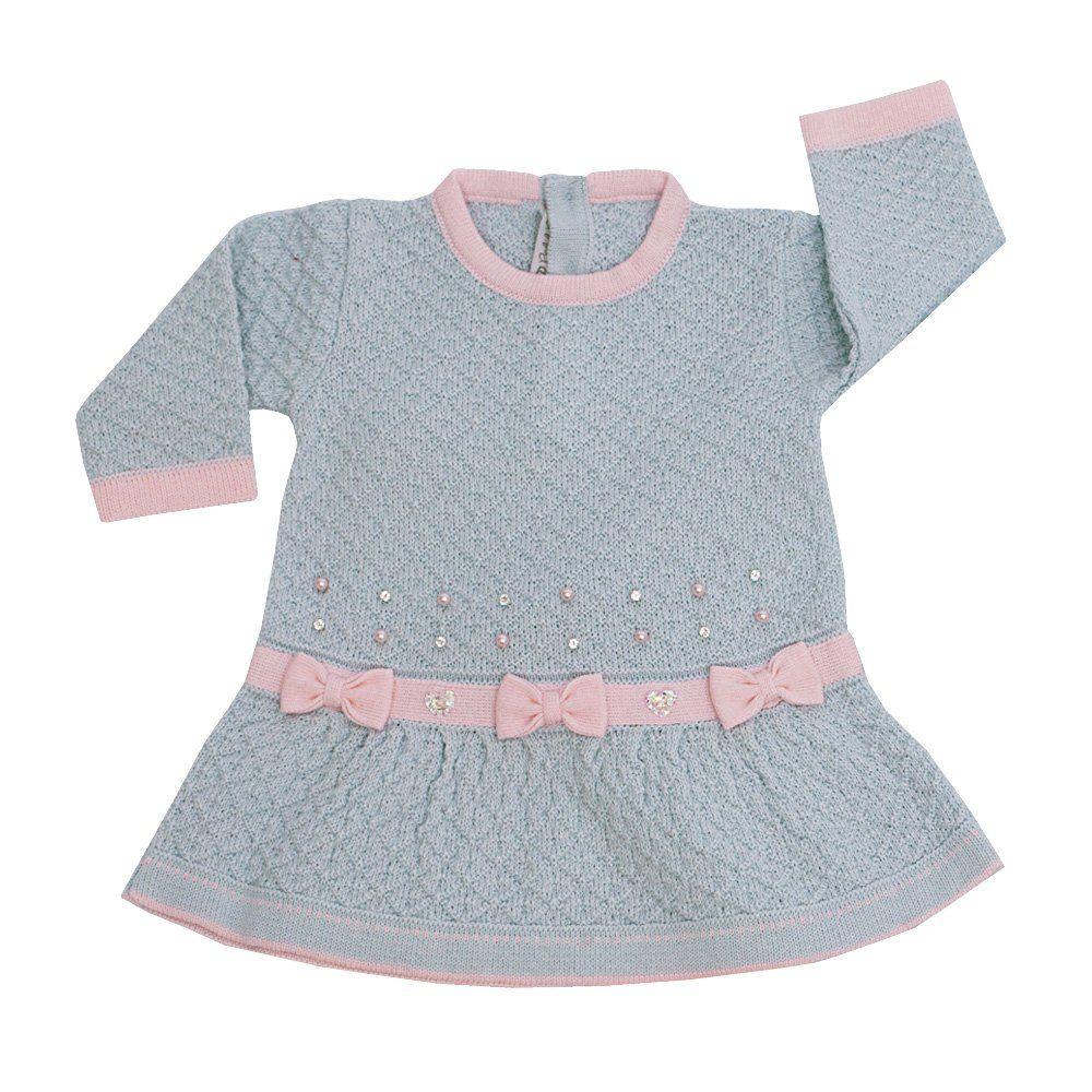 Conjunto bebê em tricot 2 peças 3 laços - Azul pó e rosa bebê