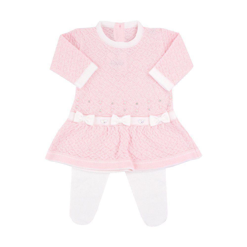 Saída de maternidade feminina vestido e calça 3 laços com cristais swarovski - Rosa bebê