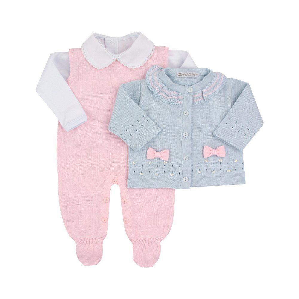 Conjunto bebê 3 peças - Azul pó e rosa