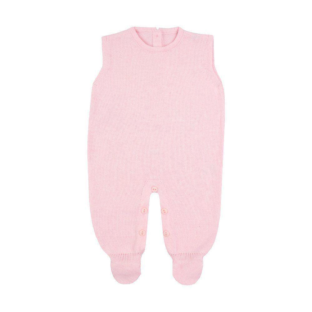 Saída de maternidade feminina jardineira, casaco e body com cristais swarovski - Azul pó e rosa