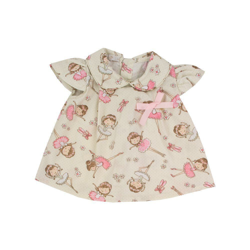 Conjunto bebê bailarina 2 peças - Marfim e rosa bebê