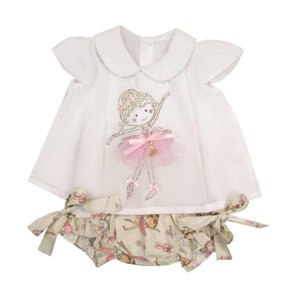 Conjunto bebê bailarina - Branco e rosa
