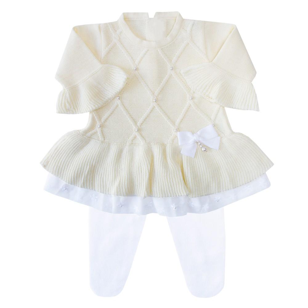 Conjunto bebê barra renda vestido e calça - Amarelo bebê