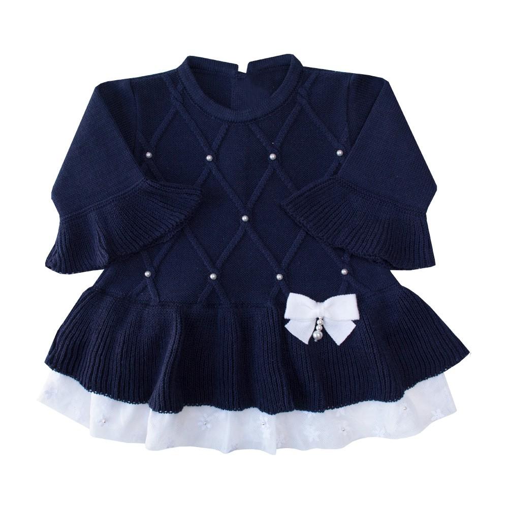 Conjunto bebê barra renda vestido e calça - Azul marinho
