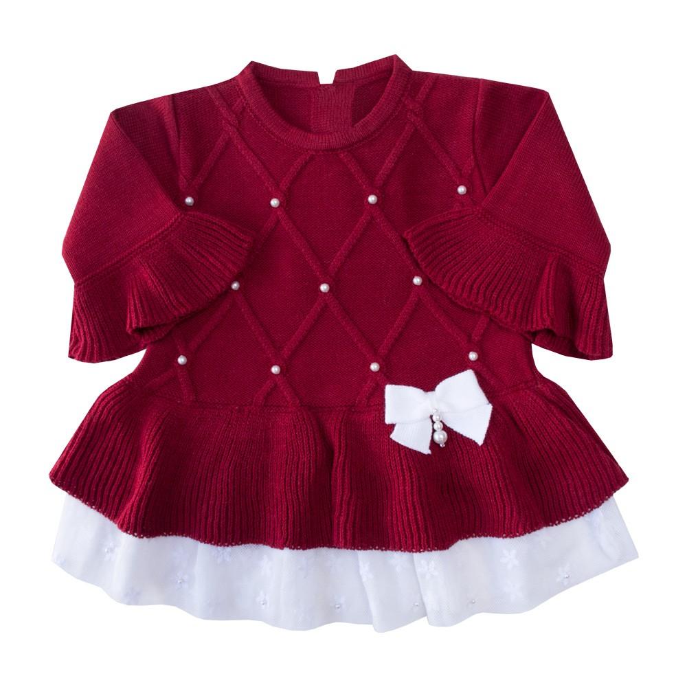 Conjunto bebê barra renda vestido e calça - Vermelho