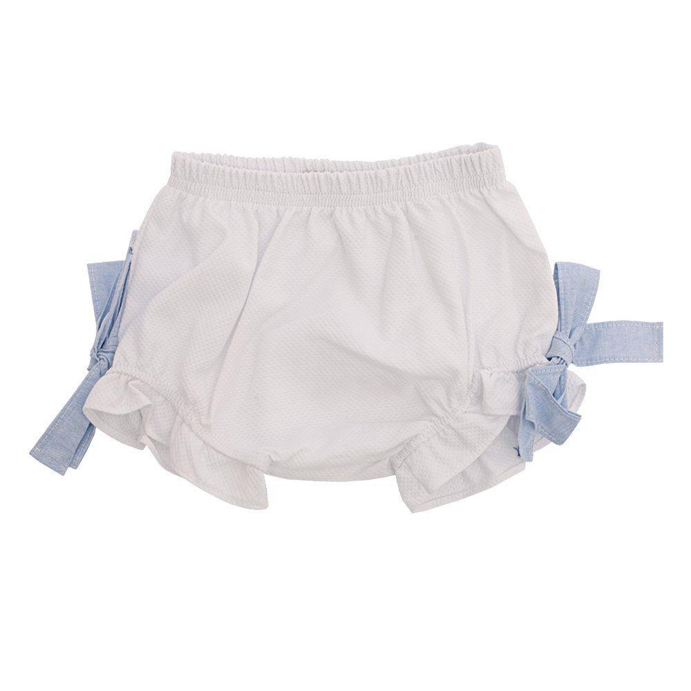 Conjunto bebê bata e calcinha - Azul e branco