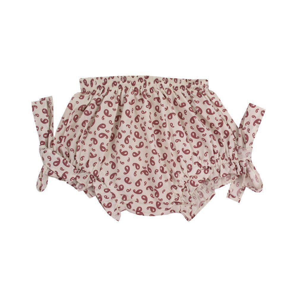 Conjunto bebê bata e short floral - Marfim