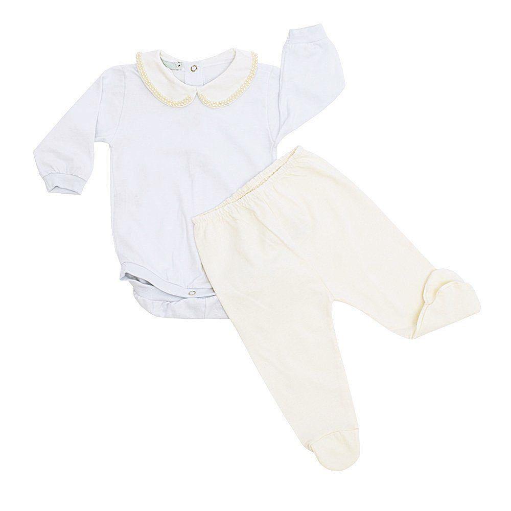 Conjunto bebê body com gola bordada de pérolas e mijão 2 peças - Branco/Marfim