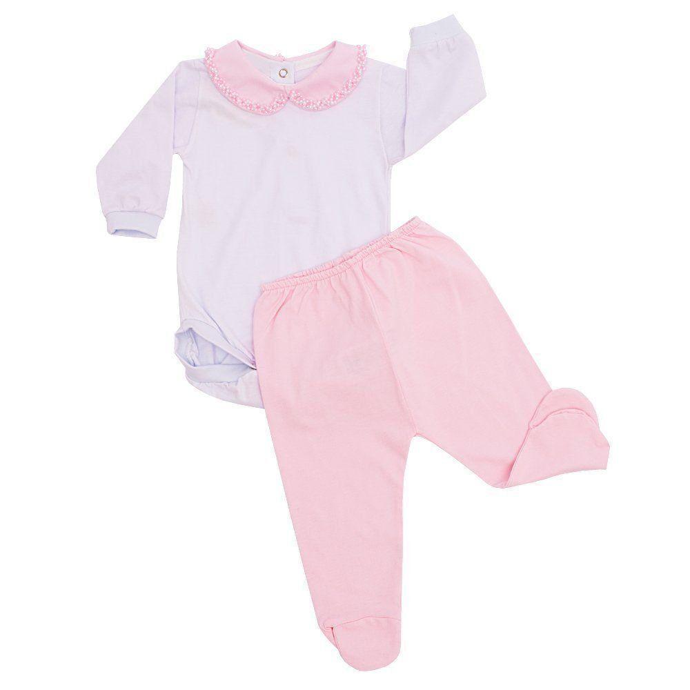 Conjunto bebê com body bordado com pérolas e mijão - Rosa bebê