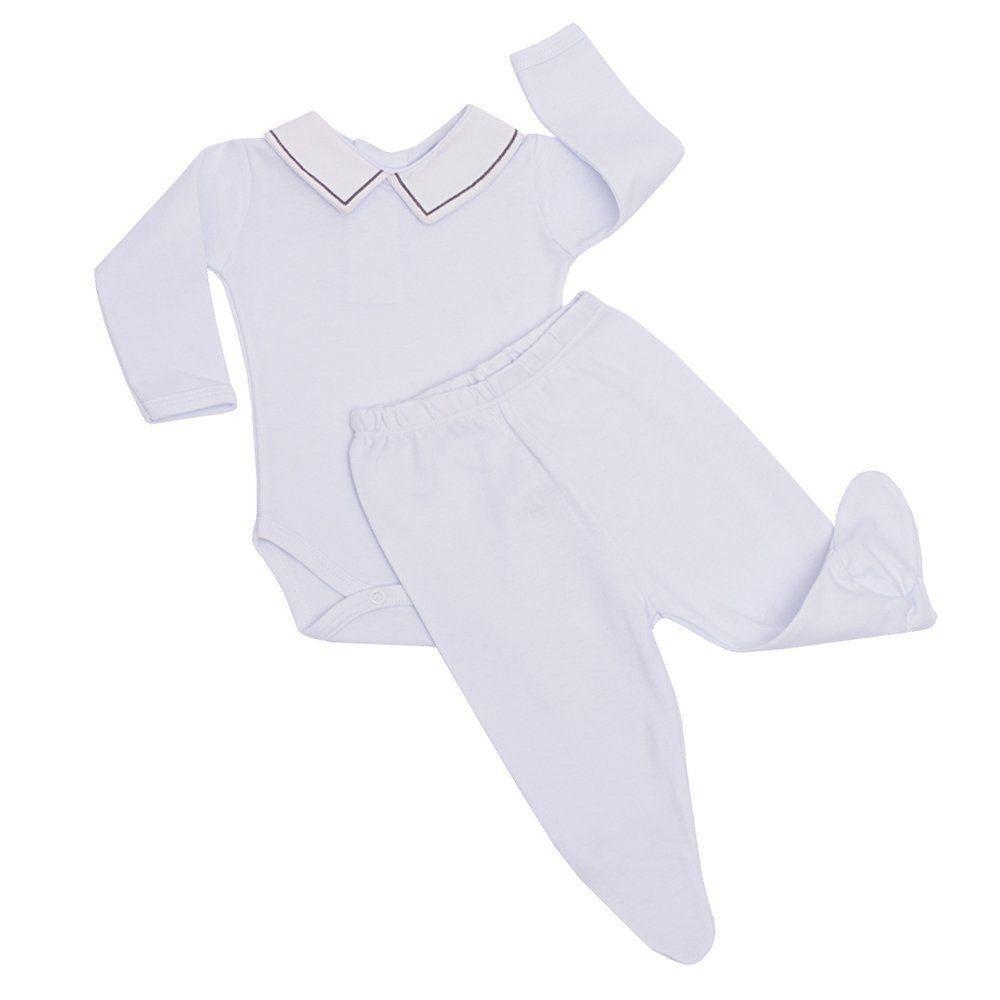 Conjunto bebê body com gola e mijão - Branco/Cinza