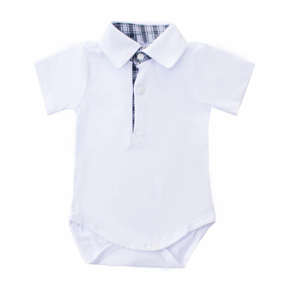 Conjunto bebê body e short xadrez - Azul marinho e branco