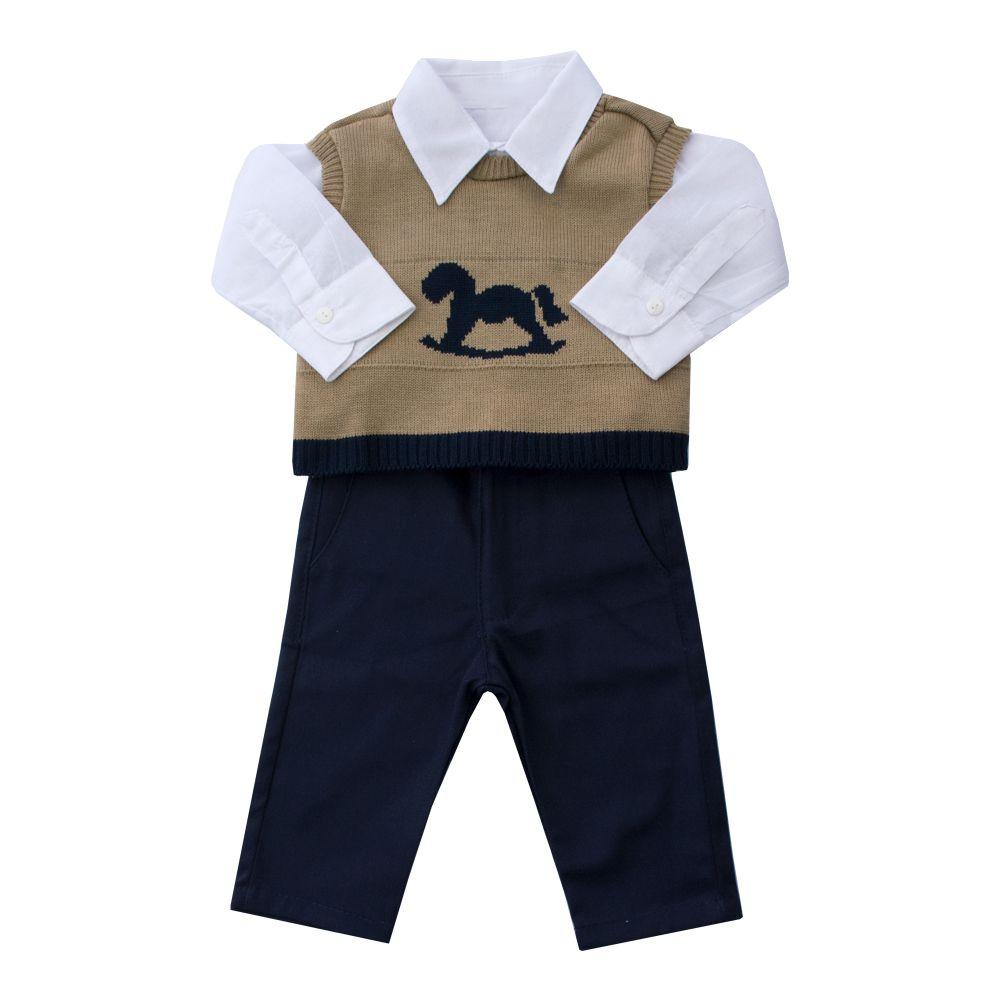 Conjunto bebê calça, body e pullover - Bege e azul marinho