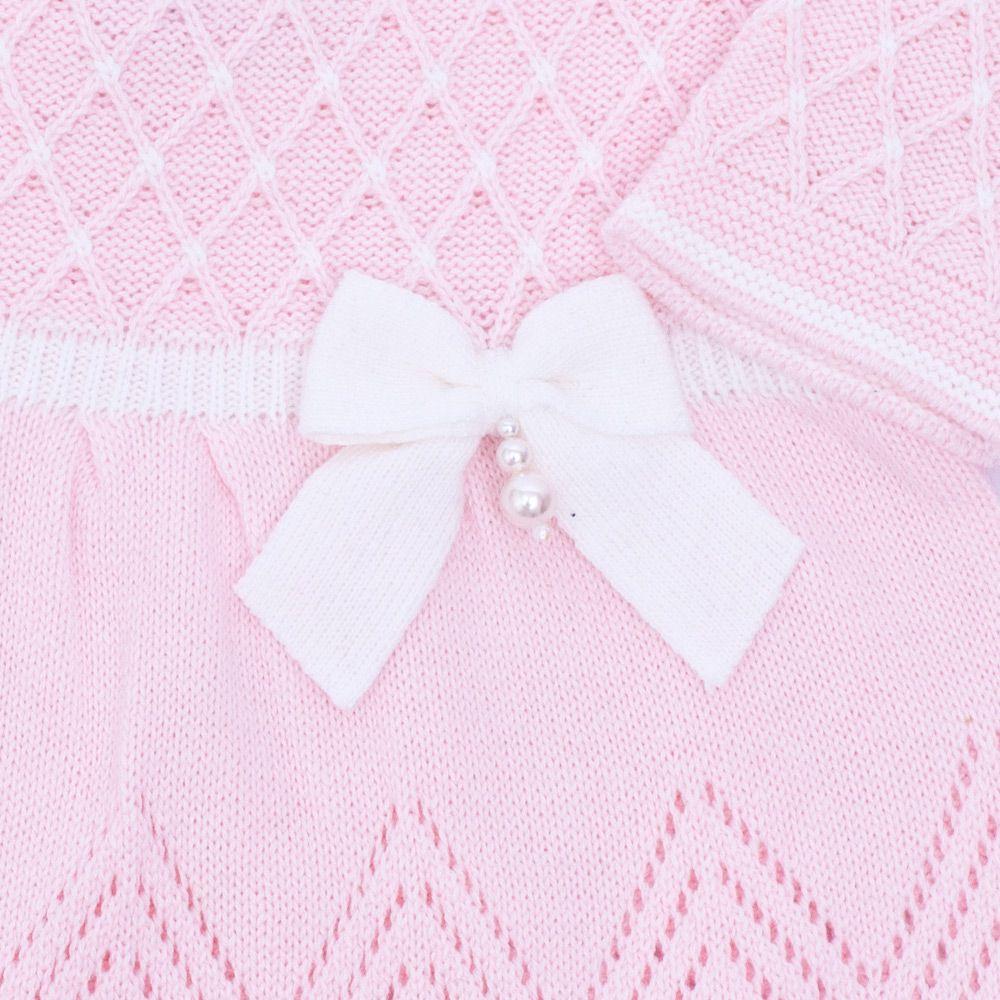 Conjunto bebê casinha de abelha vestido com cristais swarovski e calça - Rosa sensação e branco