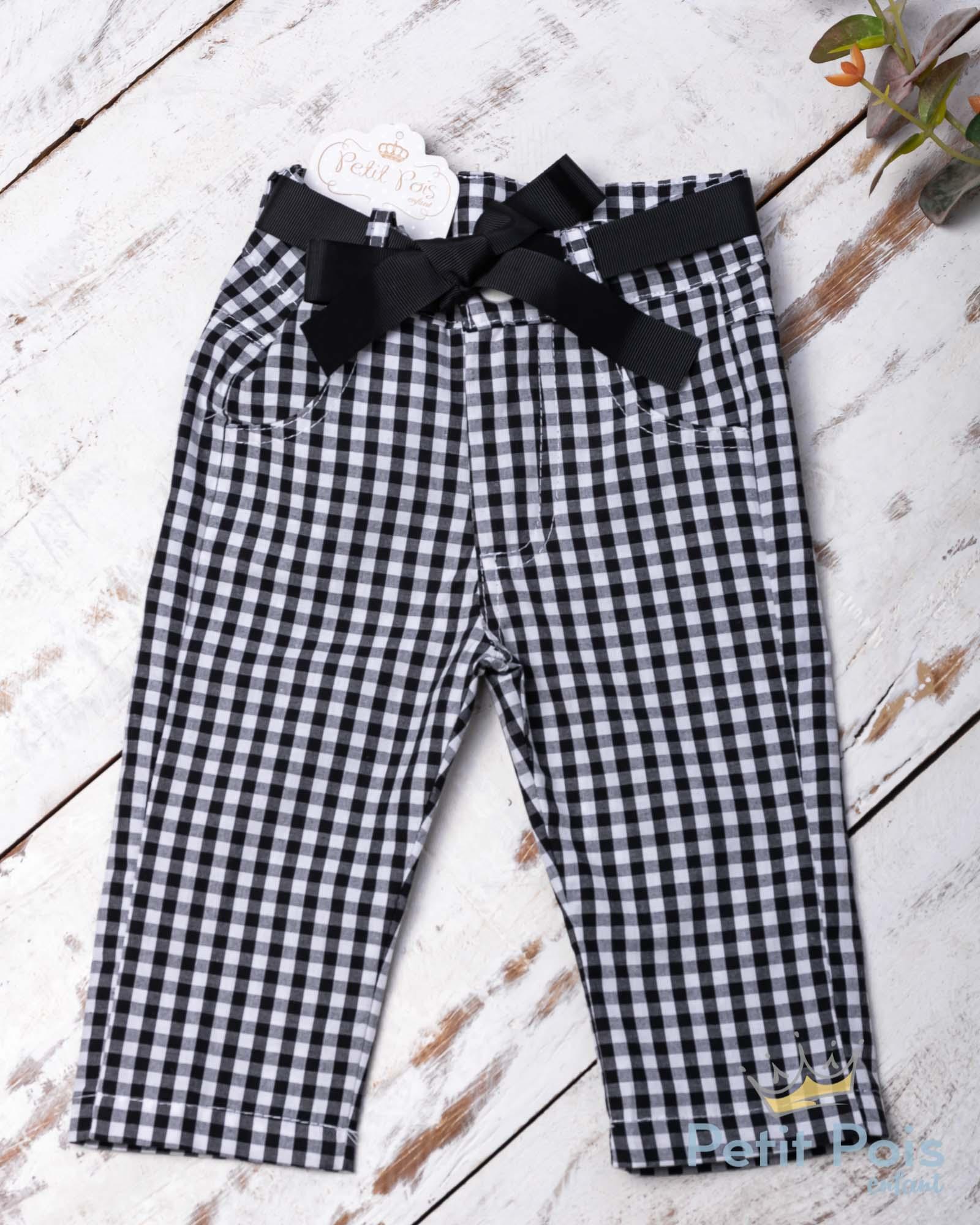 Conjunto com bata e calça - Branco e preto