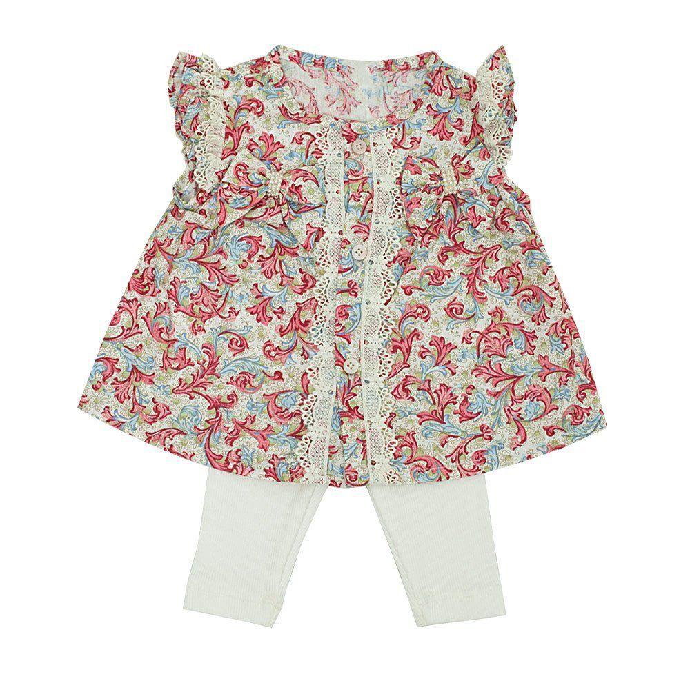 Conjunto bebê feminino 2 peças - Marfim e floral