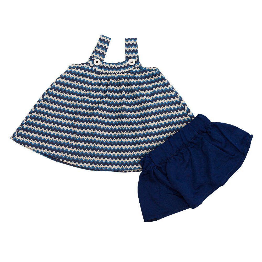 Conjunto bebê com bata e saia - Azul marinho