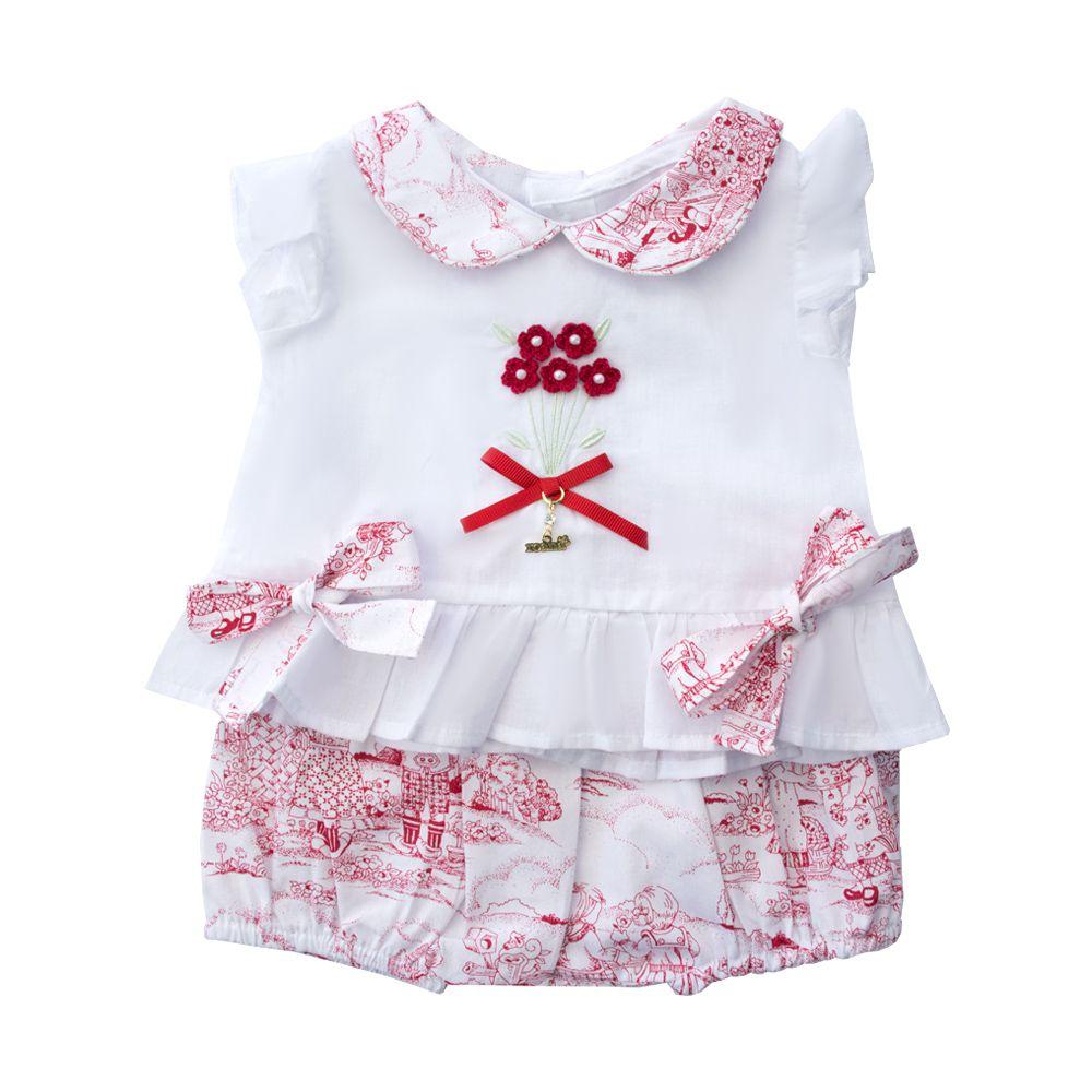 Conjunto bebê com bata e short - Branco e vermelho