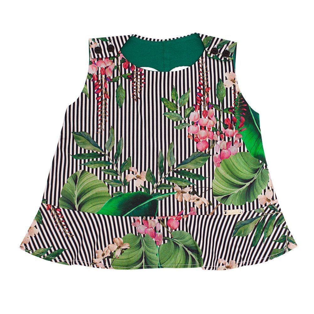 Conjunto bebê com bata e short - Verde