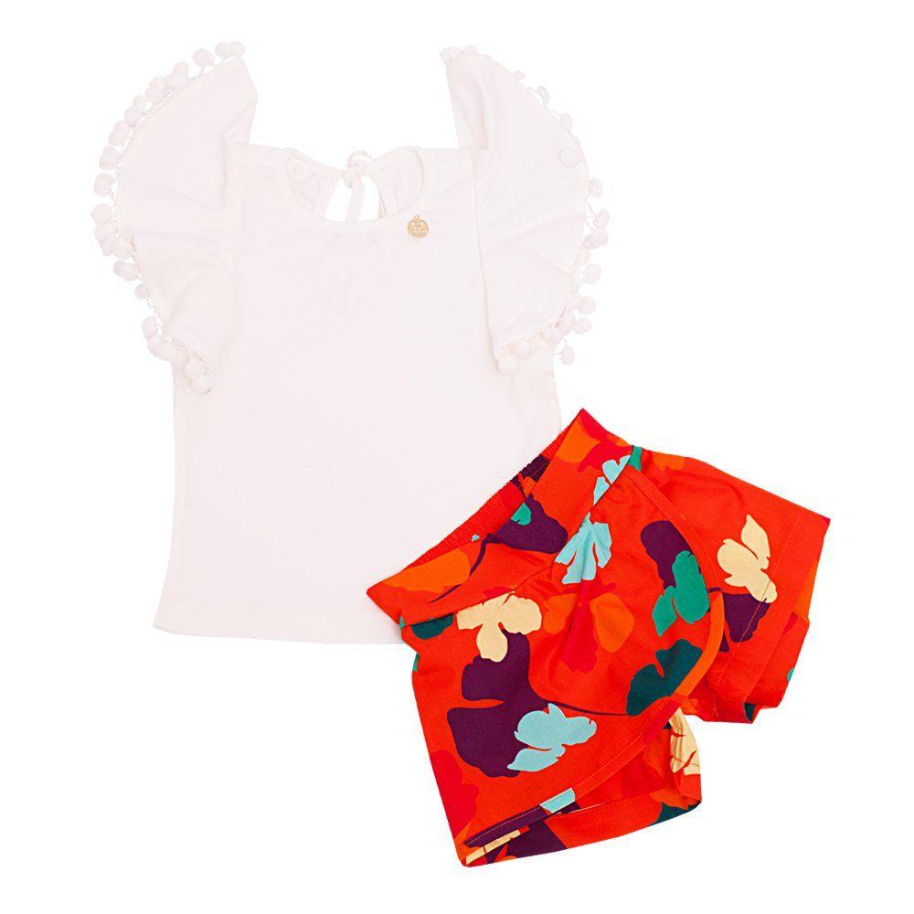 Conjunto bebê 2 peças - Marfim e laranja