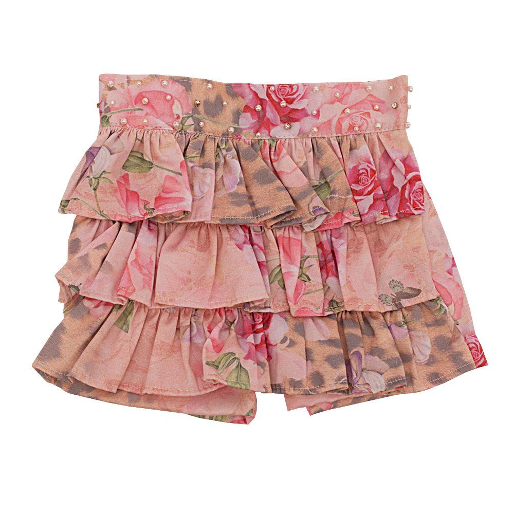 Conjunto bebê  com body e short saia  - Marfim e rosa