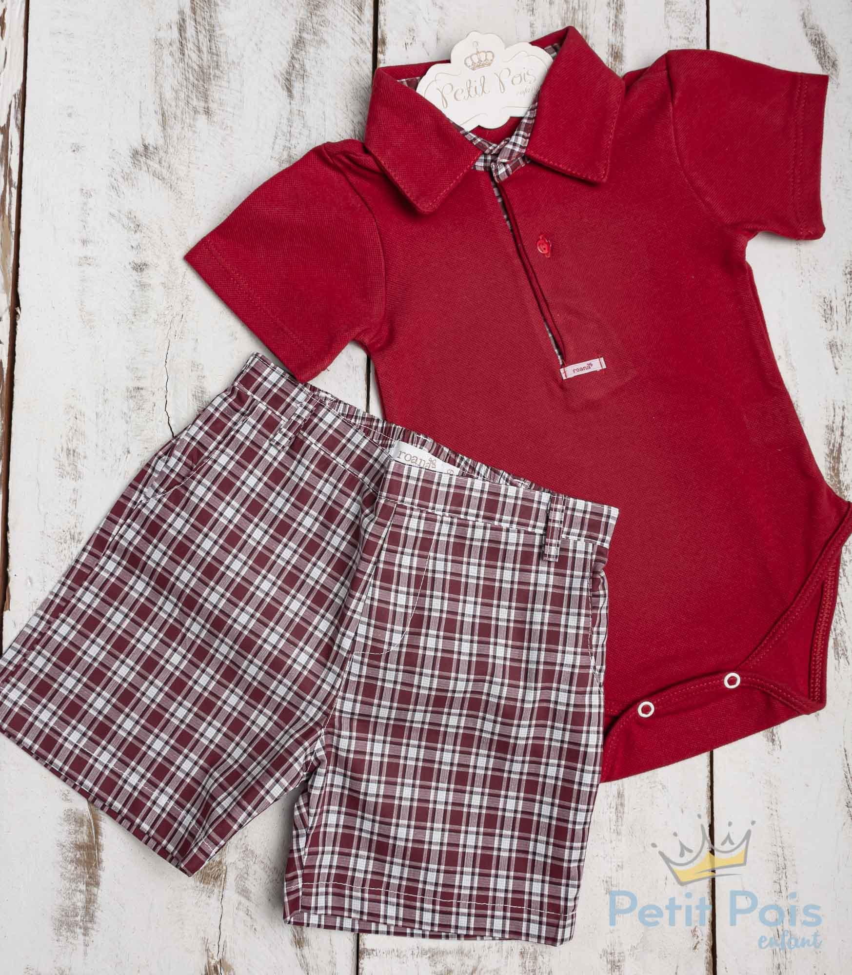 Conjunto bebê com body e short xadrez - Vermelho