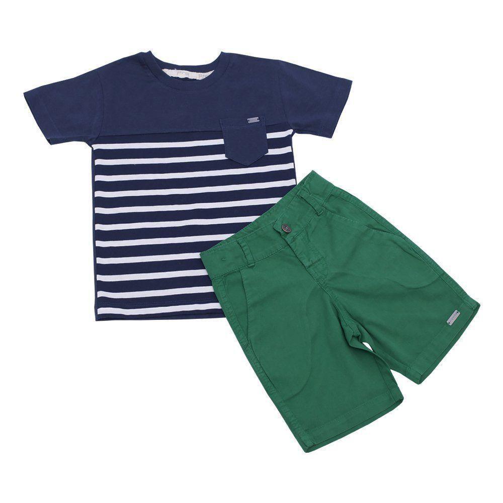 Conjunto bebê 2 peças - Azul marinho e verde
